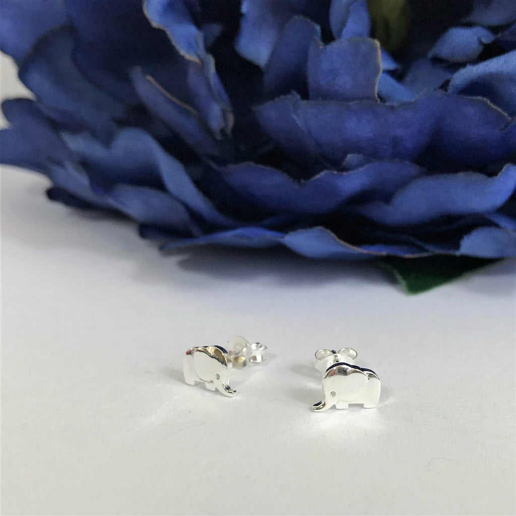 Silver Elephant Stud Earrings - VE403