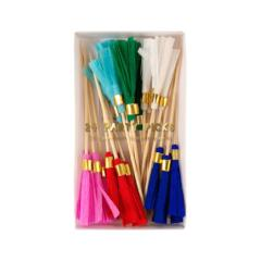 24 picks con tassels de colores
