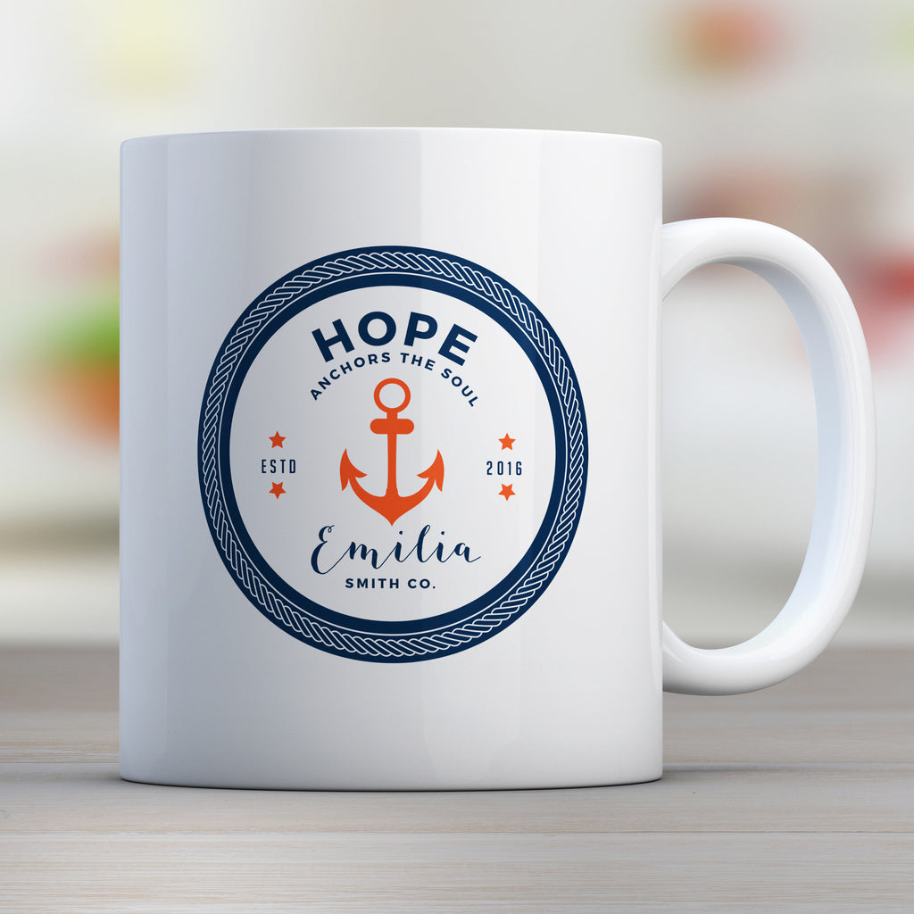 Hope Anchors the Soul Personalized Mug