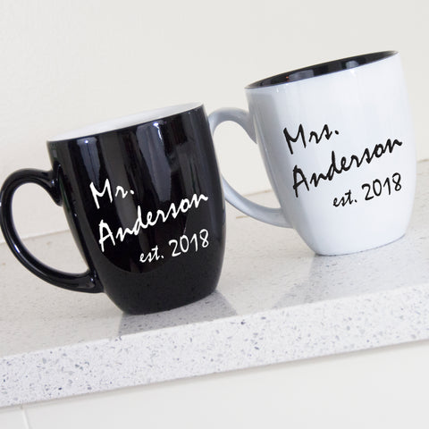 personalized black and white mug