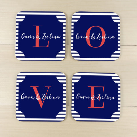 love coasters navy strips personalized