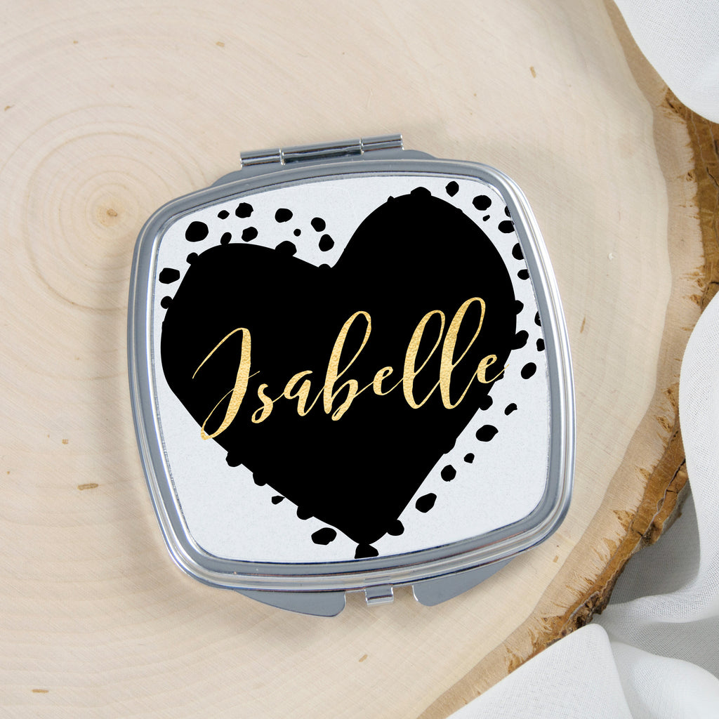 Personalized Heart Pocket Mirror