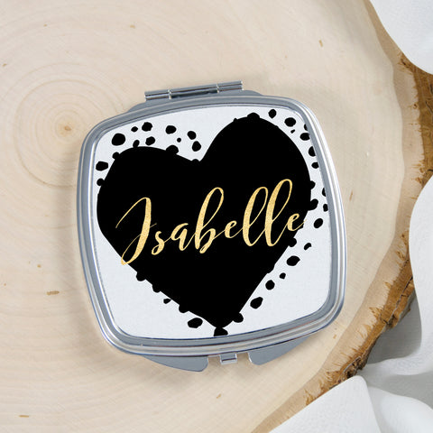 Heart Pocket Mirror Personalized