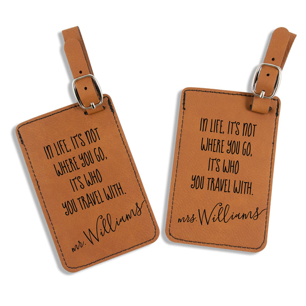 Leatherette Mr. & Mrs.  Luggage Tags - It's Who You Travel With