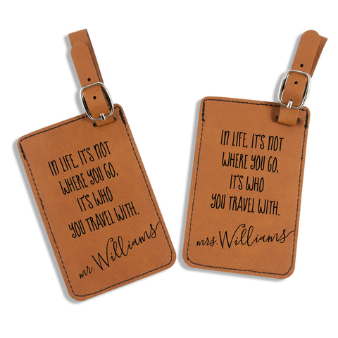 luggage tags, couples' luggage tag, personalized luggage tags, luggage tags with quotes, luggage tags gift