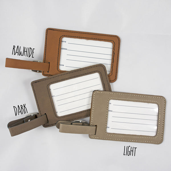 Leatherette Luggage Tag - Air Mail - Light Brown
