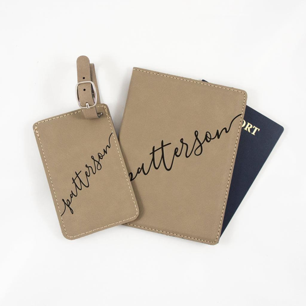 Personalized Luggage Tag And Passport Cover Set Off We Go