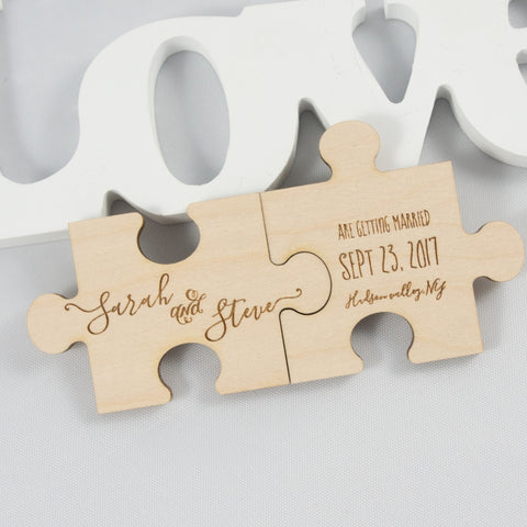 wood puzzle magnet save the date