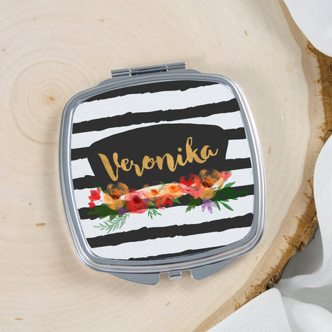 watercolor flower blackboard label black strips