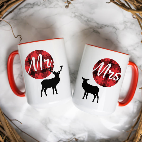 customized Christmas Gift Plaid Deer Newlywed Mugs Bridal Shower Gift Anniversary Couple Mugs