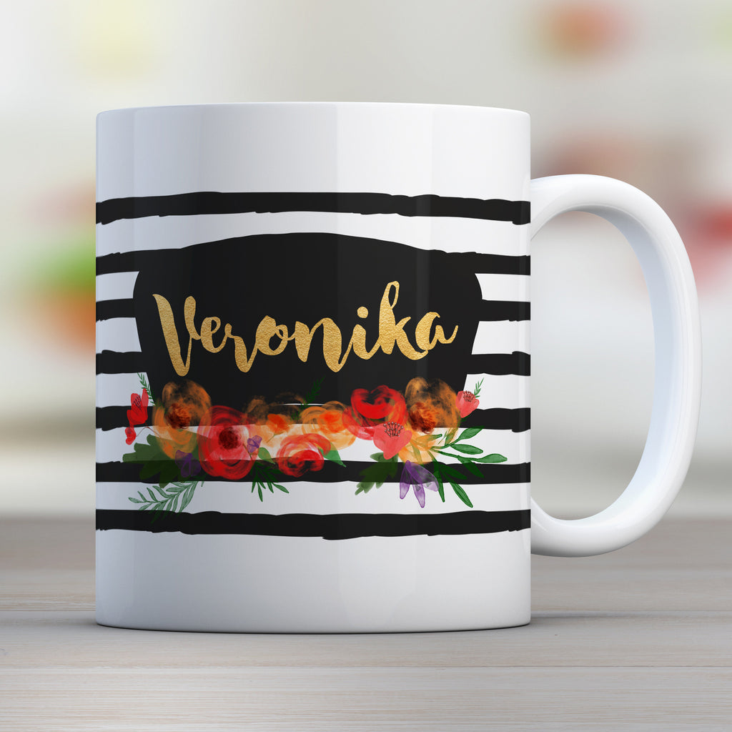 black strip watercolor flowers mug