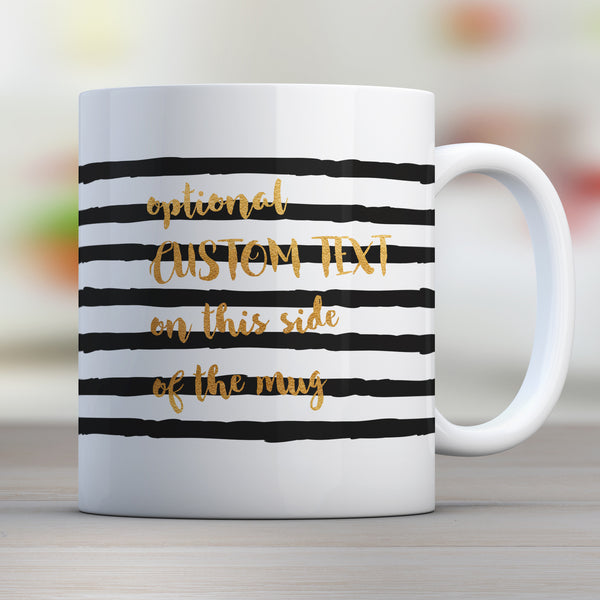 black strip custom text mug