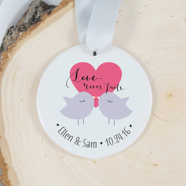 love never fails personalized ornament
