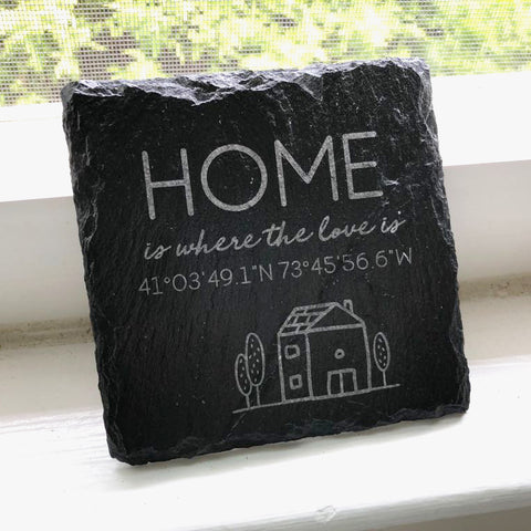 Personalized Slate Coasters Set - Home Sweet Home