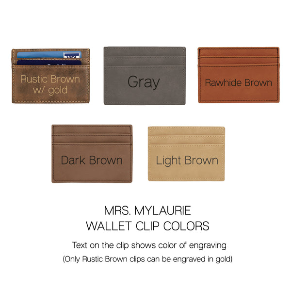 Personalized Money Clip - Leatherette Credit Card Holder