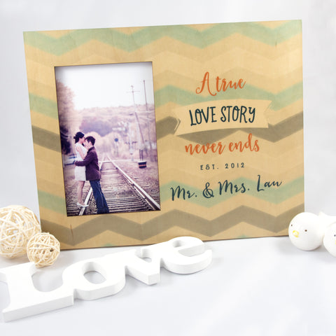 Personalized Wedding Photo Frame True Love Story Never Ends