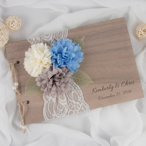 Rustic Wood Guest Book - Blue x Gray x Ivory
