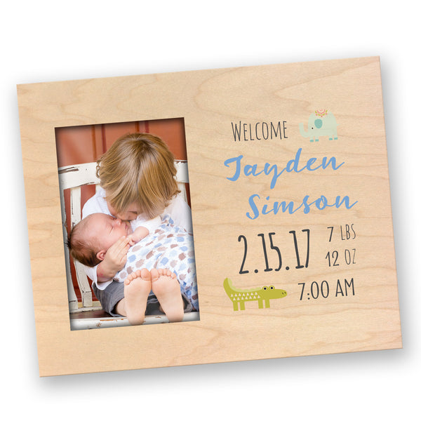 Personalized Newborn Baby Photo Frame with Stats