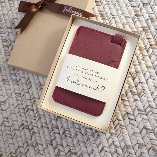 personalized bridesmaid luggage tag with gift box