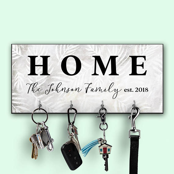 personalized key holder black and white