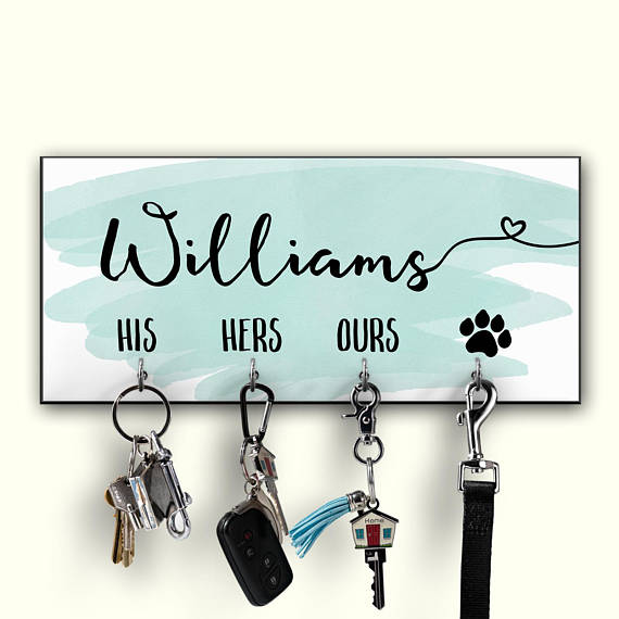 Personalized Key Holder  Watercolor