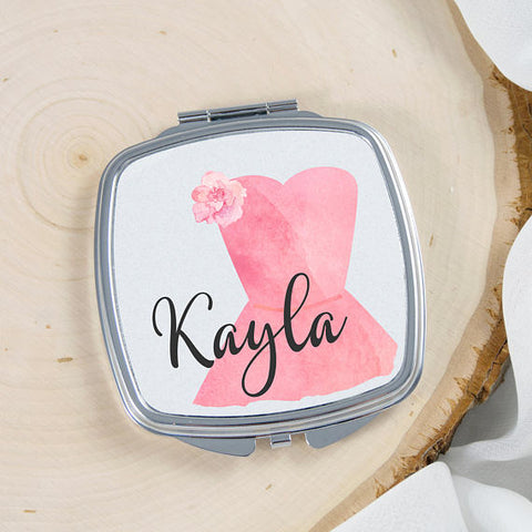 Personalized bridesmaid compact mirror
