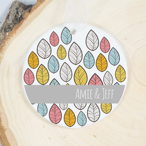 Personalized Ornament - Leafy White