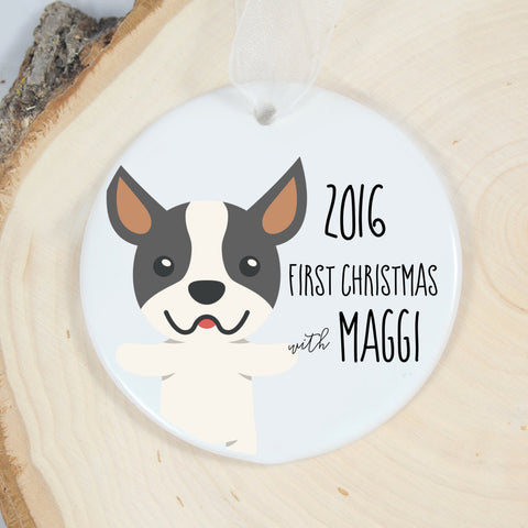 Boston Terrier Personalized First Christmas Ornament