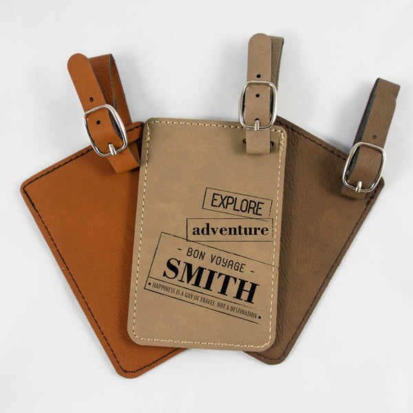 Personalized Explore Adventure luggage tags