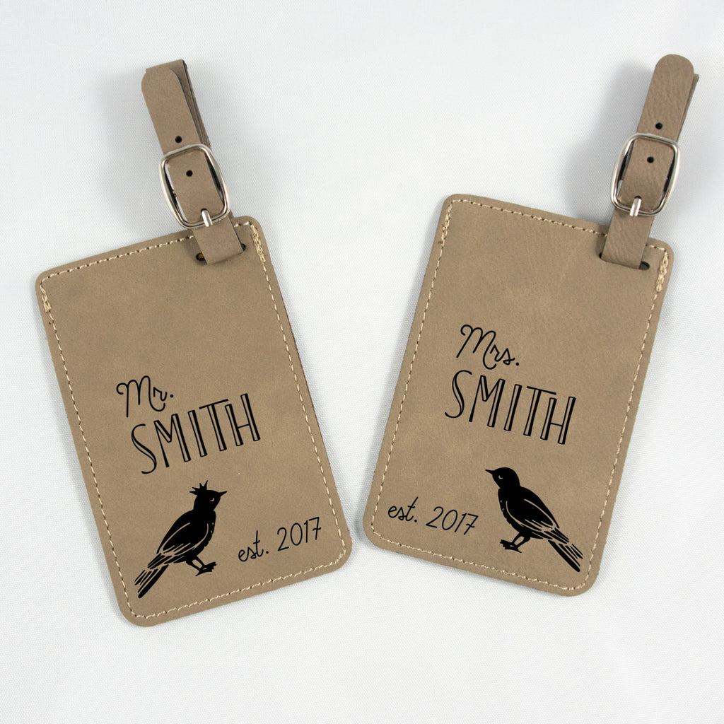 Leatherette Luggage Tag - Love Birds - Light Brown