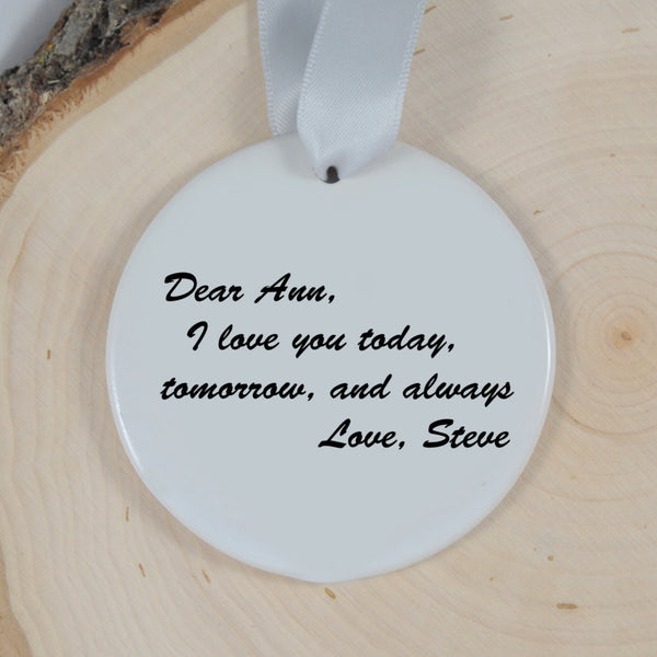 Personalized Love Never Fails Mr and Mrs Ornament