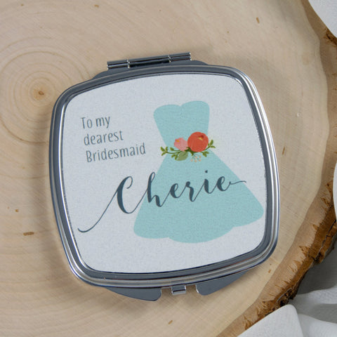 thank you bridesmaids personalized compact mirror