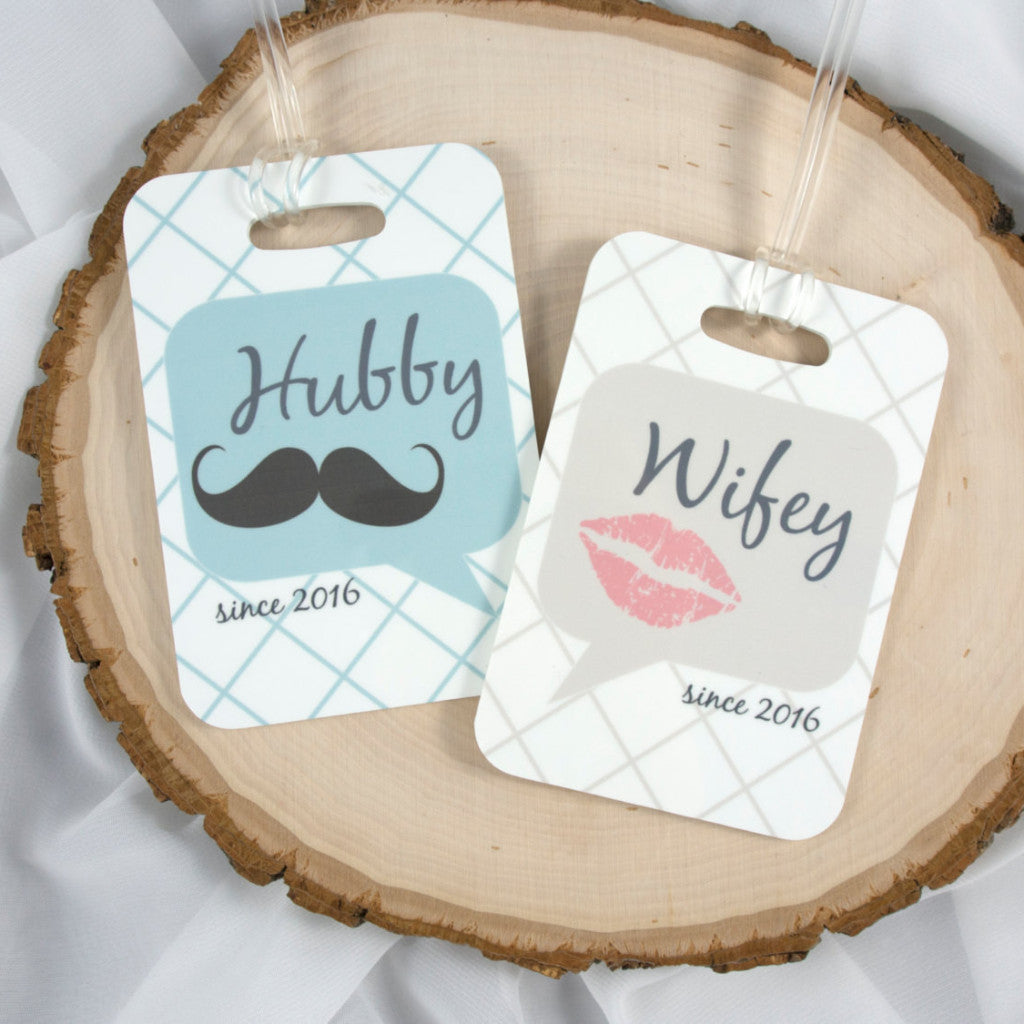 Personalized Hubby and Wifey/ His & Her Luggage Tags - Set of 2 ...