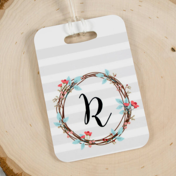 personalized wreath luggage tag