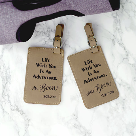 Personalized Couples Luggage Tag Adventure