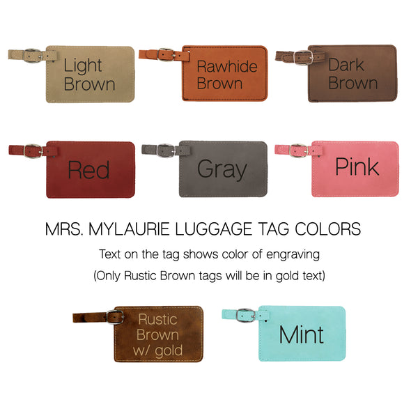 Personalized Leatherette Luggage Tags - Hubby & Wifey