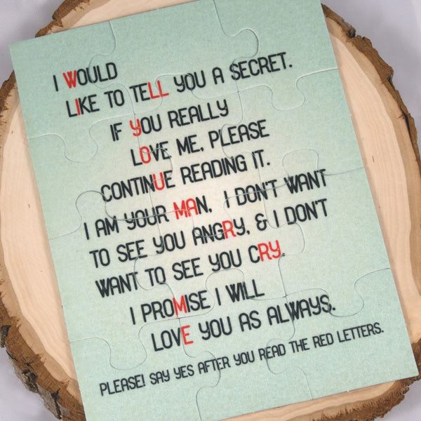 Wedding proposal idea - will you marry me puzzle