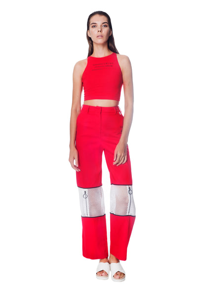 ZIPPER KNEE PANT - RED