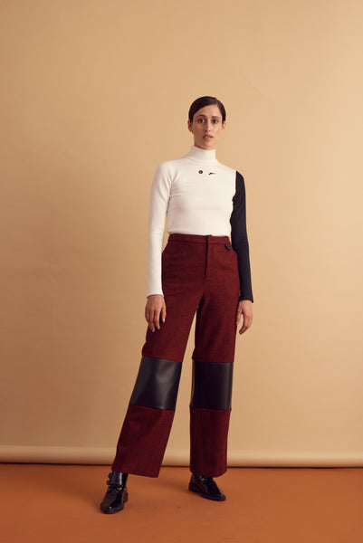 PLAID LEATHER TROUSER