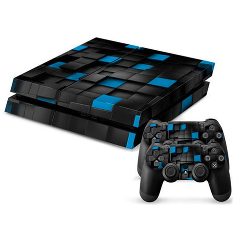 Console Skin Kit - BLACK & BLUE CHECKERED PATTERN DESIGN Sony PS4 Console Skin Kit
