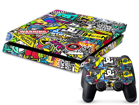 Console Skin Kit - FASHION COLORFUL Graffiti Sony PS4 Console Skin Kit