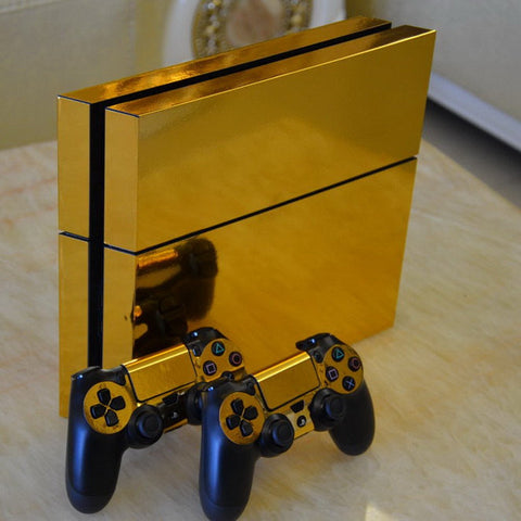 Console Skin Kit - GLOSSY GOLD DESIGN Sony PS4 Console Skin Kit