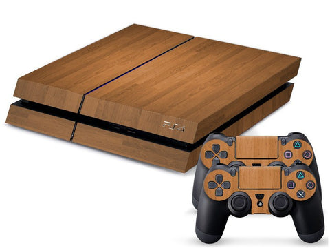 Console Skin Kit - LIGHT WOODEN DESIGN Sony PS4 Console Skin Kit