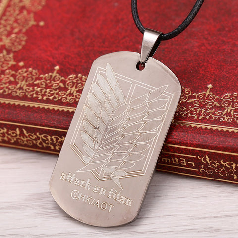 Necklace - ATTACK ON TITANS Logo & Survey Corps Emblem Pendant Necklace