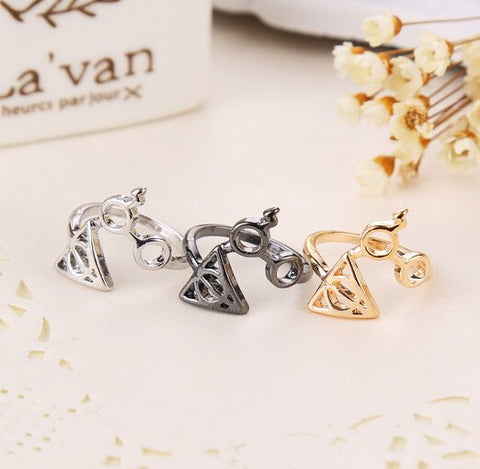 Ring - HARRY POTTER Deathly Hallows Emblem & Glasses Ring