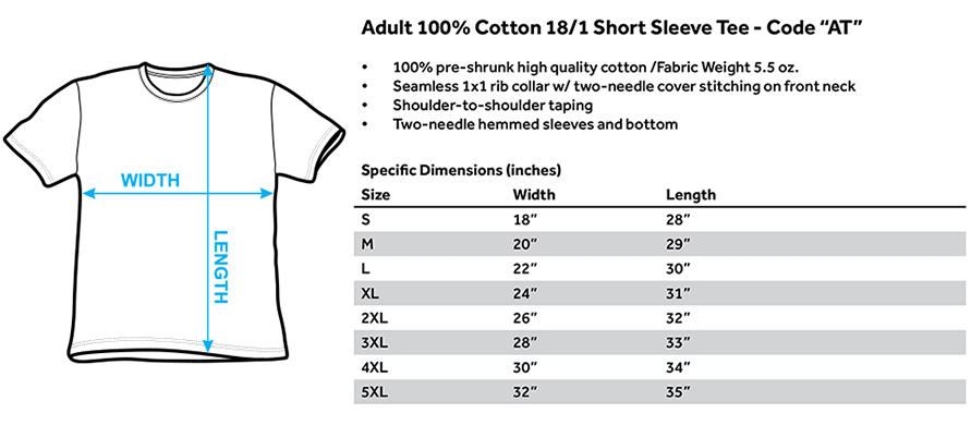 No.365 Outfitters AT-Adult Regular Fit Short Sleeve Size Chart