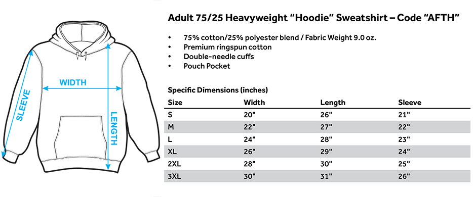 No.365 Outfitters AFTH - Adult Pull-Over Hoodie Size Chart