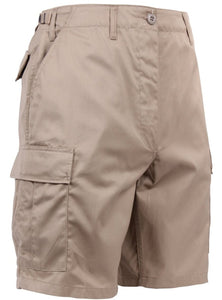 Kahki BDU Shorts | 365 Outfitters | Classic military style BDU shorts feature a button fly that allows for quick repair in the field, six pockets ideal for carrying equipment and accessories, and adjustable waist tabs that allow for the perfect fit.