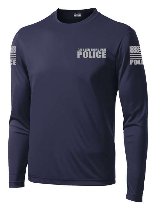 Ambler Borough Police Officer Long Sleeve Performance Shirt  | Navy and Grey