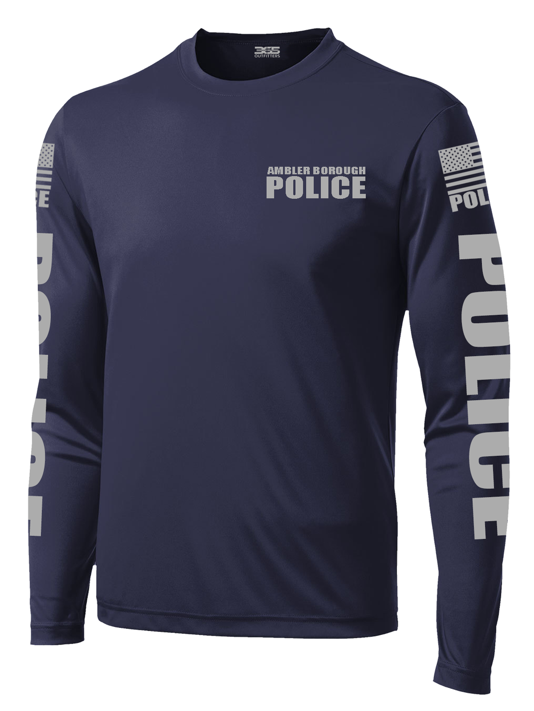 Ambler Borough Police Officer Long Sleeve Performance Shirt  | Navy and Grey - №365 Outfitters